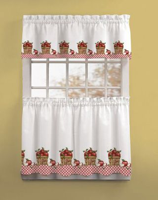 Apple Picking 3 Piece Kitchen Curtain Tier Set In 2019 In Coffee Embroidered Kitchen Curtain Tier Sets (View 7 of 25)