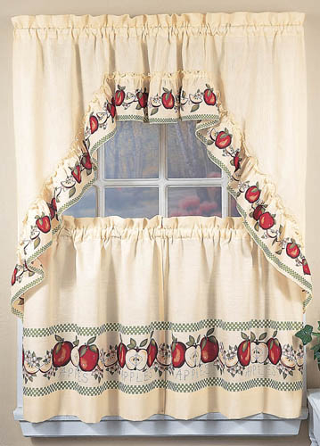 Apple Window Curtains, Country Kitchen Decor Swag Tiers Regarding Grace Cinnabar 5 Piece Curtain Tier And Swag Sets (View 17 of 25)