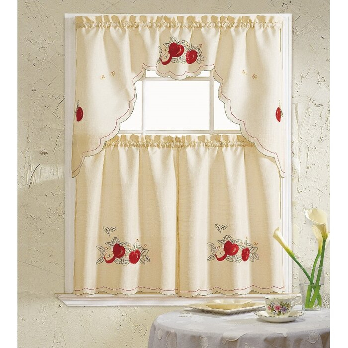 Apples 3 Piece Kitchen Curtain Set Regarding Delicious Apples Kitchen Curtain Tier And Valance Sets (Image 7 of 25)