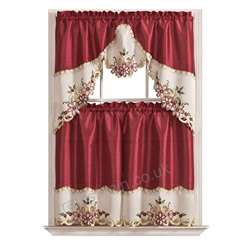 Arch Floral Kitchen Curtain Set/ Swag Valance & Tier Set With Floral Embroidered Sheer Kitchen Curtain Tiers, Swags And Valances (View 8 of 25)