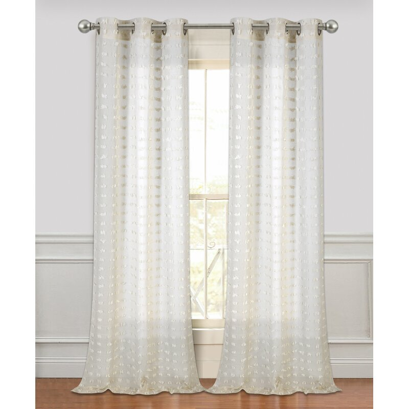 Arielle Solid Semi Sheer Grommet Curtain Panels Throughout Ivory Micro Striped Semi Sheer Window Curtain Pieces (View 20 of 25)
