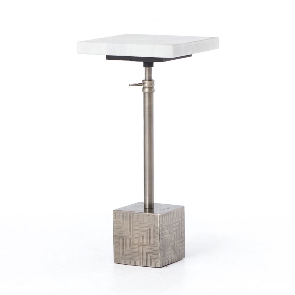 Asher Sirius Adjustable Accent Table In Gunmetal | Michele Inside Newest Icarus Round Bar Tables (View 3 of 25)
