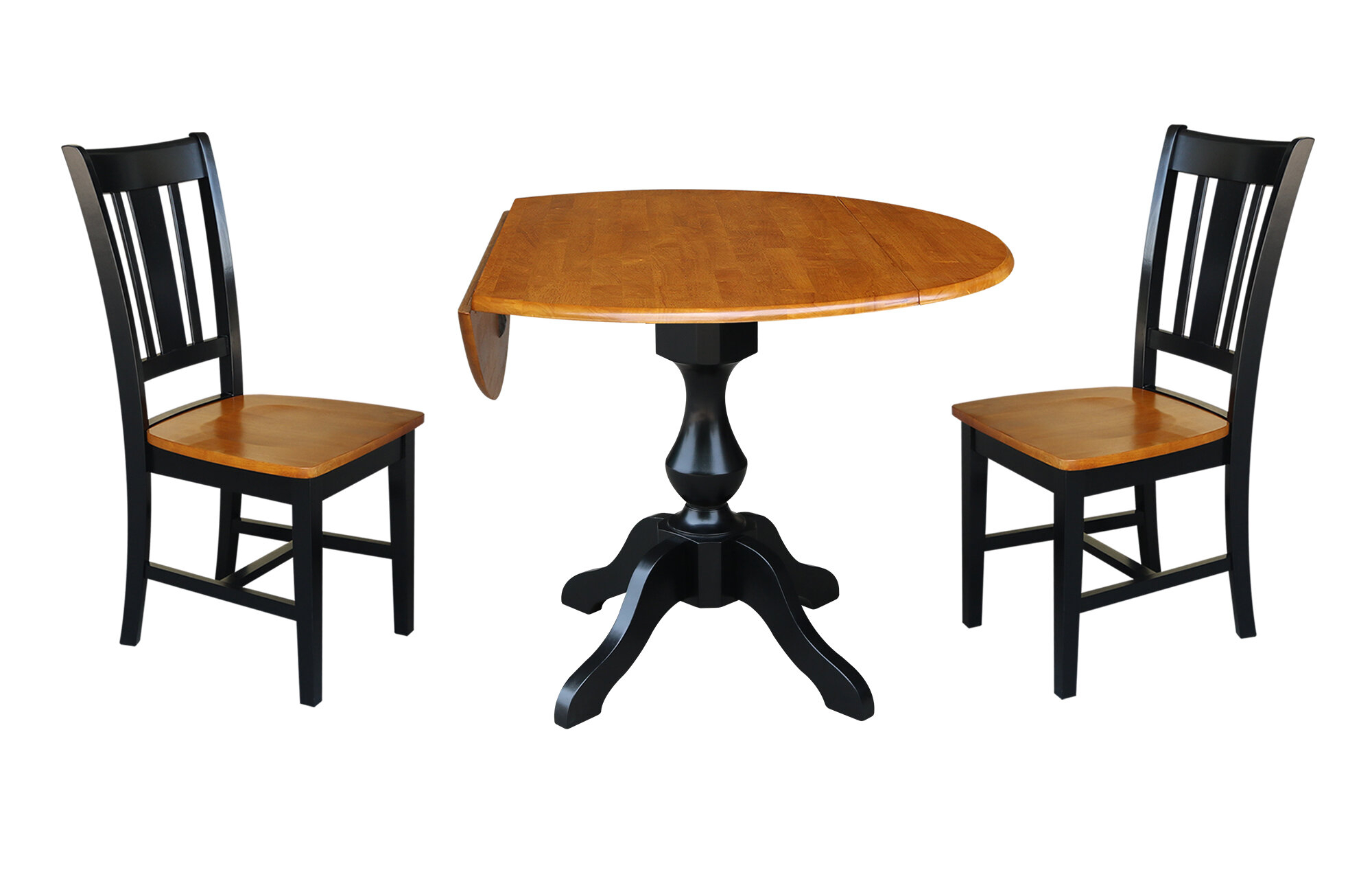 Augu Round Top Pedestal Extending 3 Piece Drop Leaf Solid Wood Dining Set Inside Recent Rae Round Pedestal Dining Tables (Image 4 of 25)