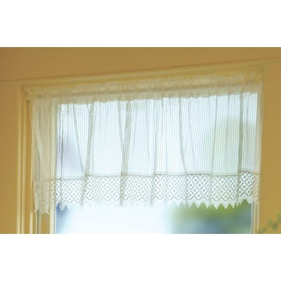 """August Grove Arles 48"""" Curtain Valance Color: White With Luxury Light Filtering Straight Curtain Valances (Image 2 of 25)"""