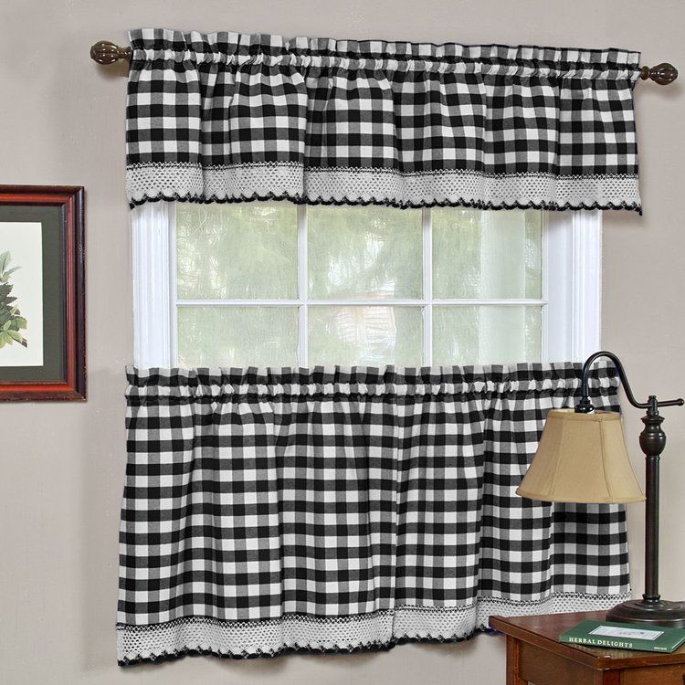 August Grove Bellair Country Plaid Complete 3 Piece Tier Intended For Barnyard Buffalo Check Rooster Window Valances (Image 2 of 25)