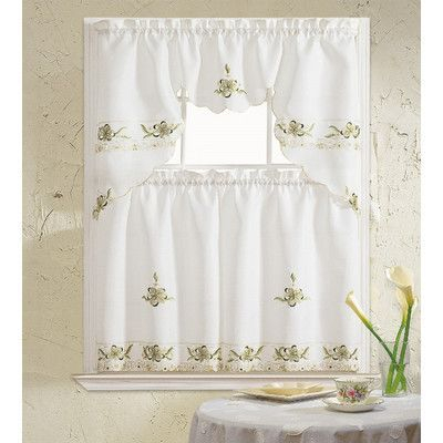 August Grove Polsky 3 Piece Kitchen Curtain Set Color: Sage Inside Urban Embroidered Tier And Valance Kitchen Curtain Tier Sets (View 6 of 25)