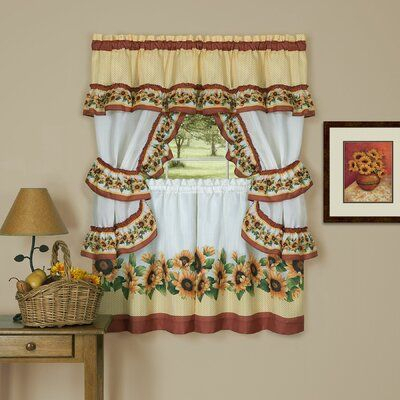 """August Grove Tabares Susan 57"""" Window Valance Size: 57"""" W X Intended For Traditional Two Piece Tailored Tier And Swag Window Curtains Sets With Ornate Rooster Print (View 13 of 25)"""