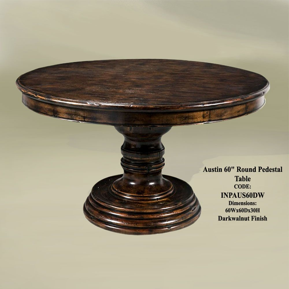 "Austin 60"" Round Pedestal Table Dark Wal 