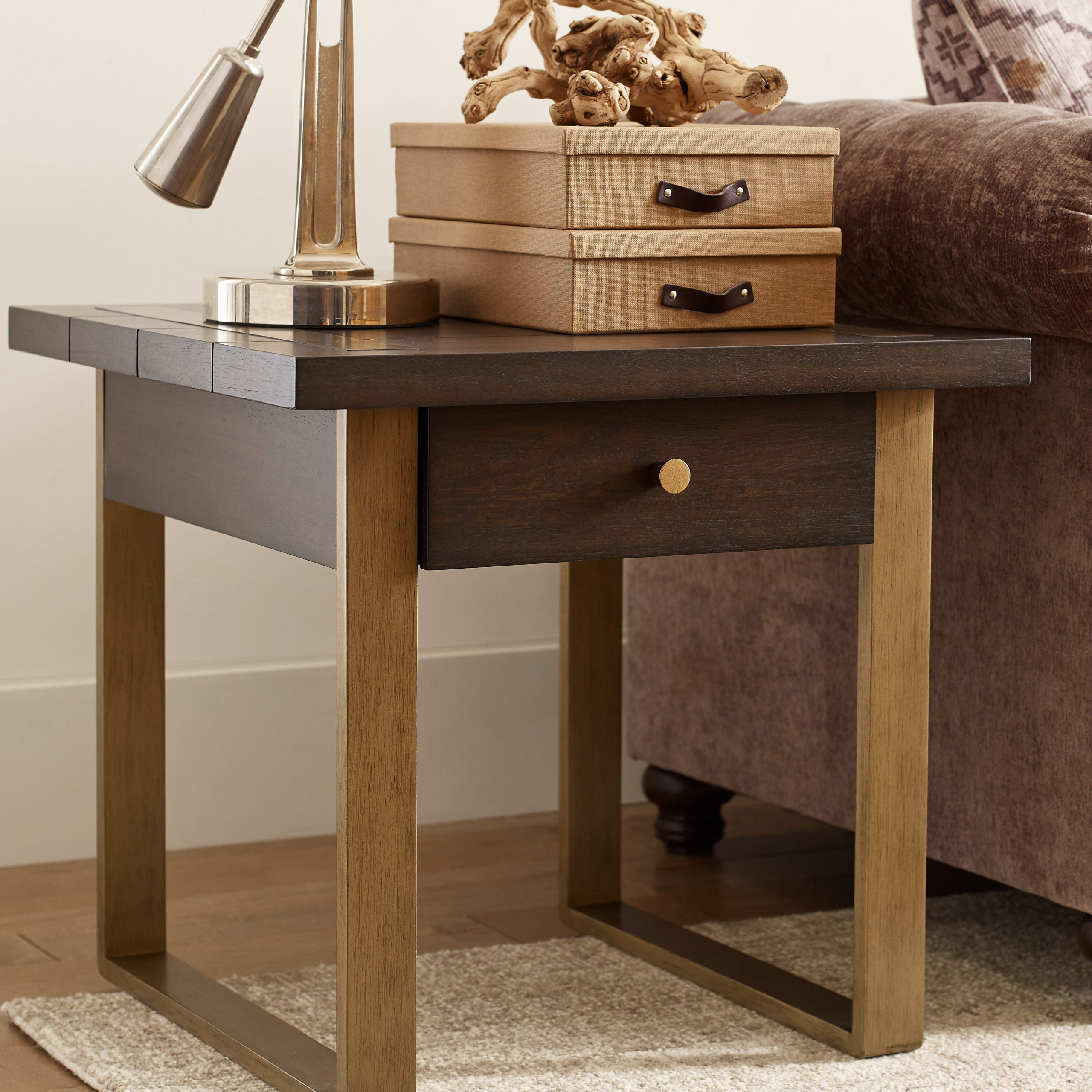Austin Square End Table With Storage In Most Popular Brown Wash Livingston Extending Dining Tables (View 19 of 25)