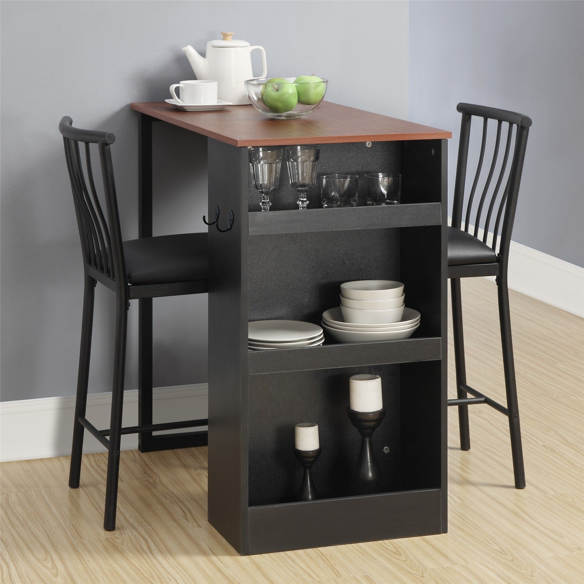 Avenue Greene 3 Pc Counter Height Bar Set (Black) | Home Within Newest Griffin Reclaimed Wood Bar Height Tables (View 4 of 25)