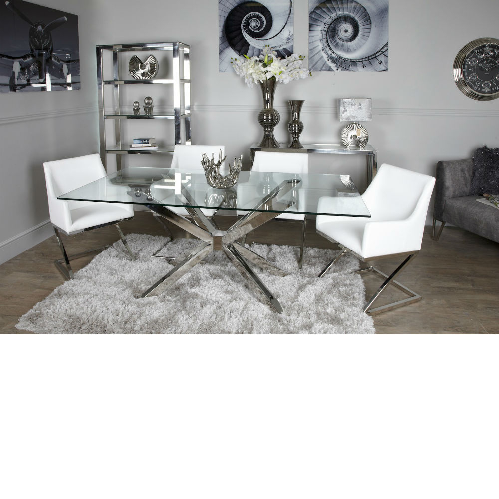 Avery Glass Chrome Dining Table In Recent Avery Rectangular Dining Tables (View 6 of 25)