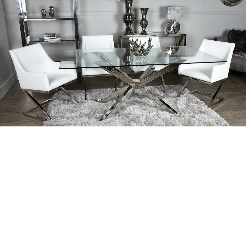 Avery Glass Chrome Dining Table Inc 4 White Chairs Within Latest Avery Round Dining Tables (View 17 of 25)