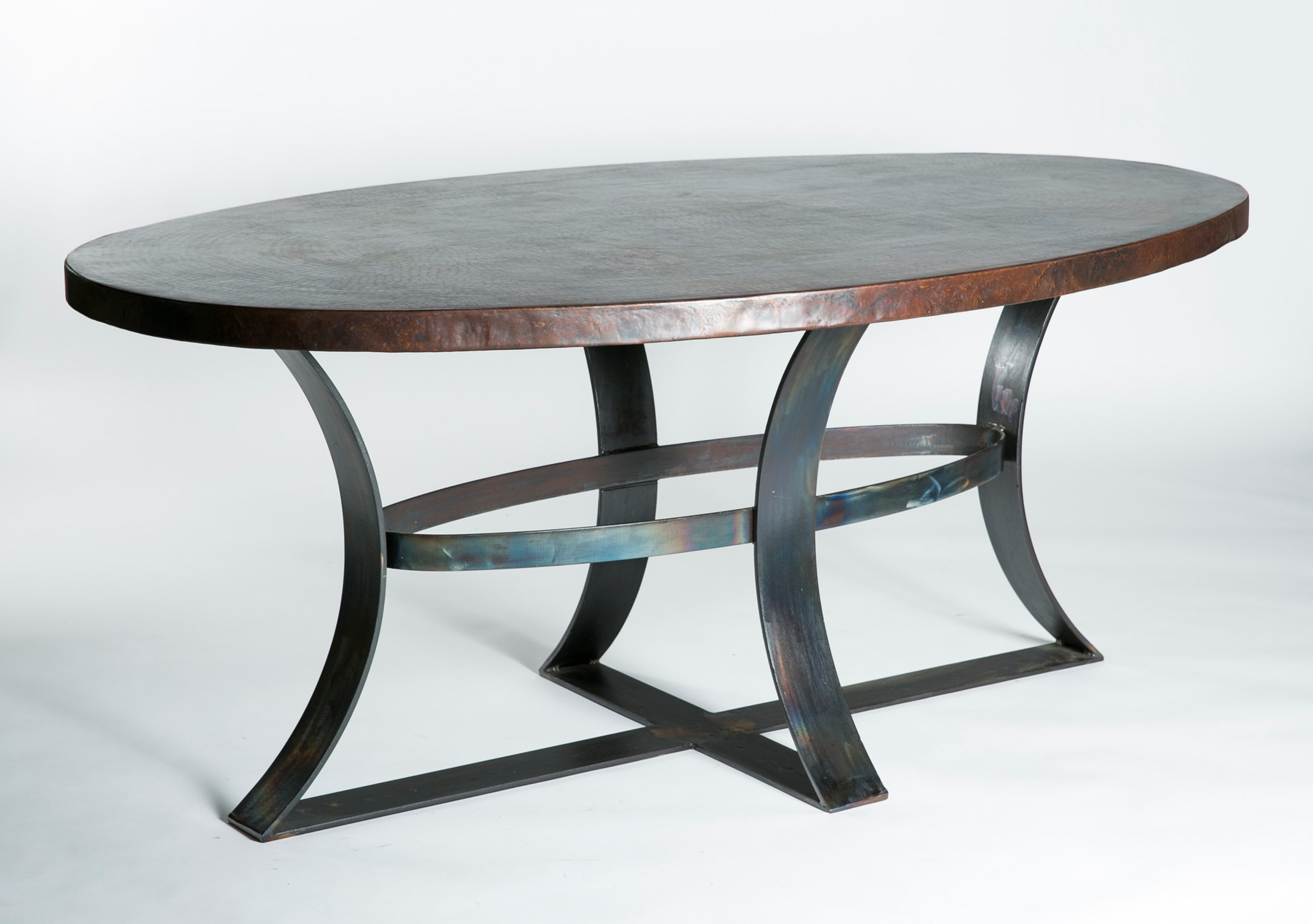 Avery Oval Dining Table With Dark Brown Hammered Copper Top Inside 2017 Avery Round Dining Tables (View 21 of 25)