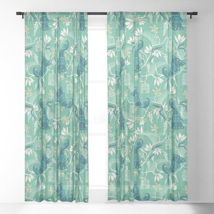 Aviary – Green Sheer Curtainheatherduttonhangtightstudio Regarding Aviary Window Curtains (View 10 of 25)