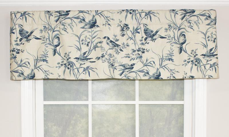 Aviary Toile Straight Valance, Blue – Outlet | Rlf Home Intended For Aviary Window Curtains (View 13 of 25)