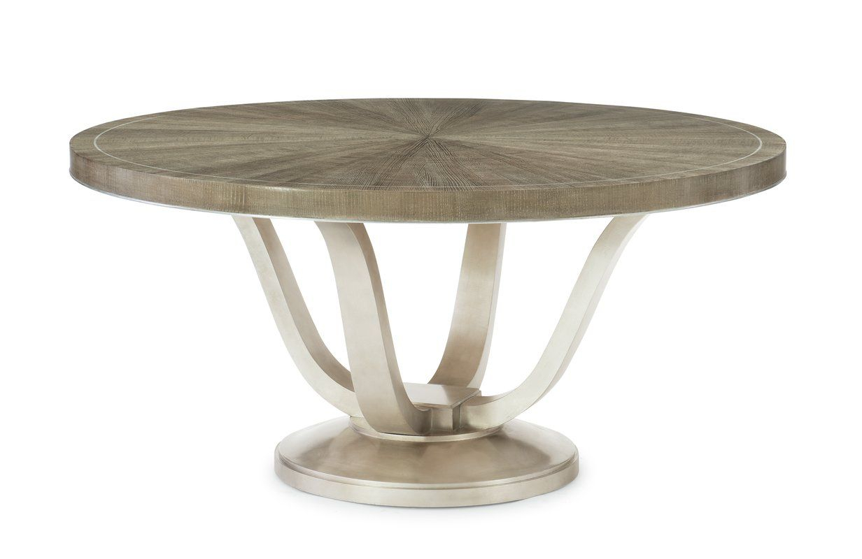 Featured Image of Gray Wash Banks Pedestal Extending Dining Tables