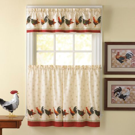 Awesome Kitchen Curtains Sets #1 Country Rooster Kitchen Regarding Traditional Two Piece Tailored Tier And Swag Window Curtains Sets With Ornate Rooster Print (View 2 of 25)