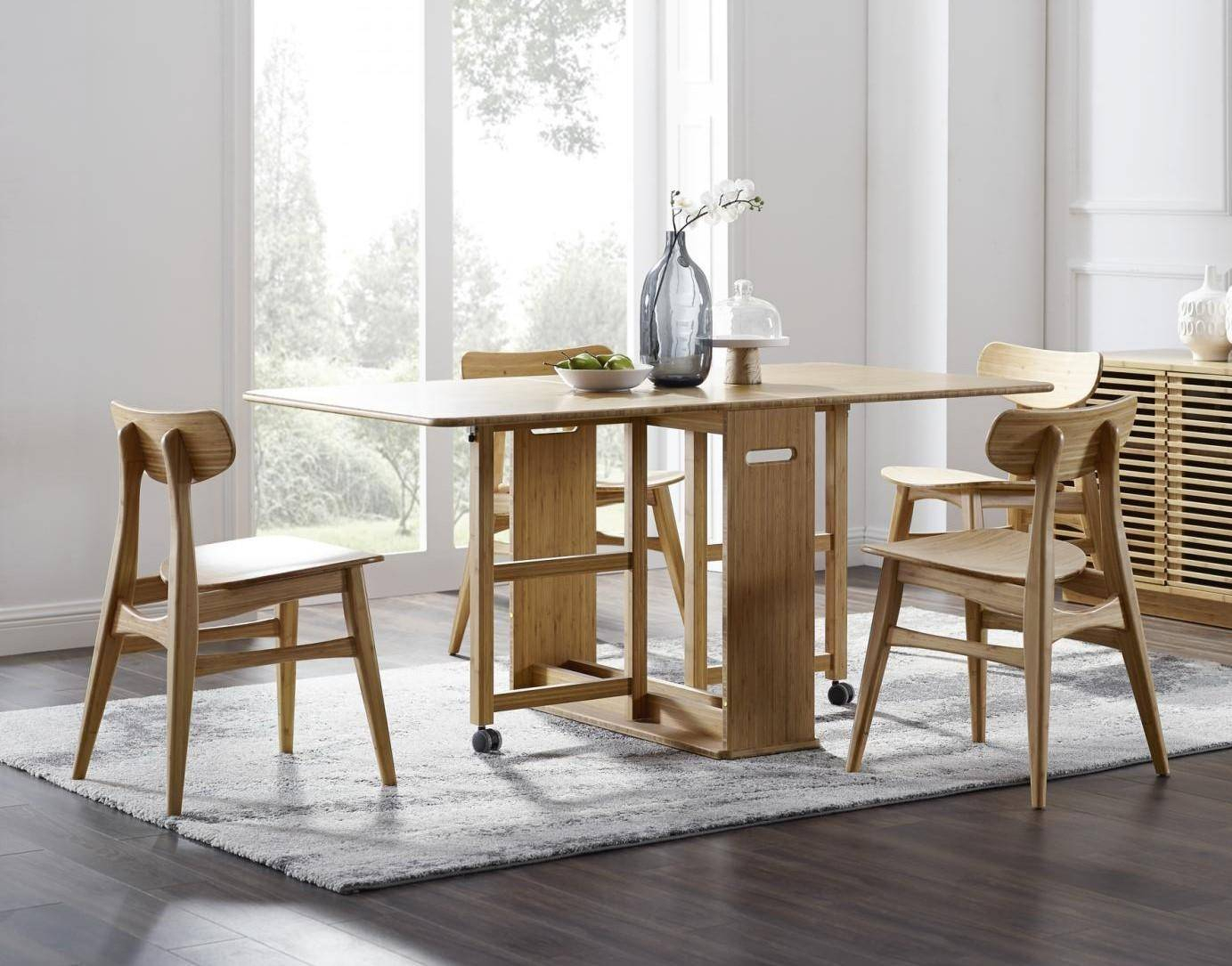 Bamboo Dining Table Set 5 Pcs Caramelized Modern Linden Throughout Recent Linden Round Pedestal Dining Tables (View 17 of 25)