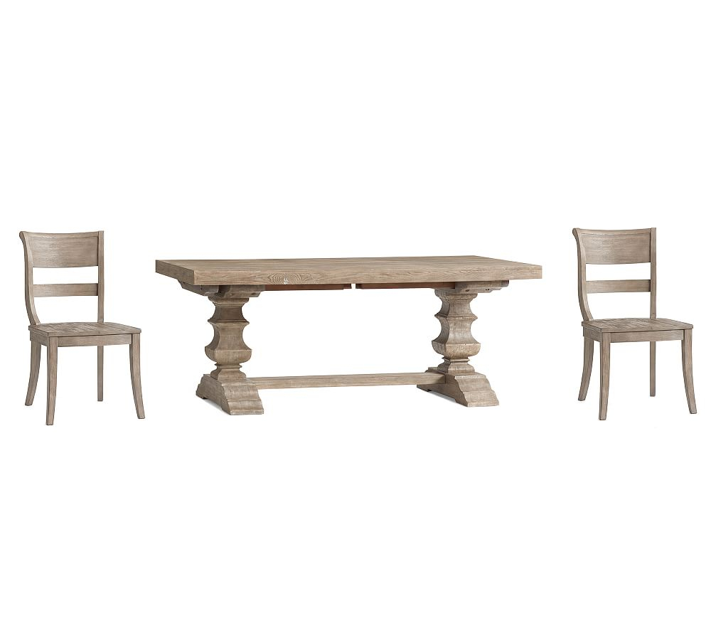Banks Extending Dining Table Large & 8 Bradford Side Chairs Throughout 2018 Gray Wash Banks Extending Dining Tables (View 2 of 25)