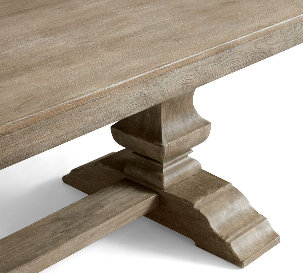 Banks Extending Dining Table Pertaining To Most Popular Gray Wash Banks Pedestal Extending Dining Tables (View 18 of 25)