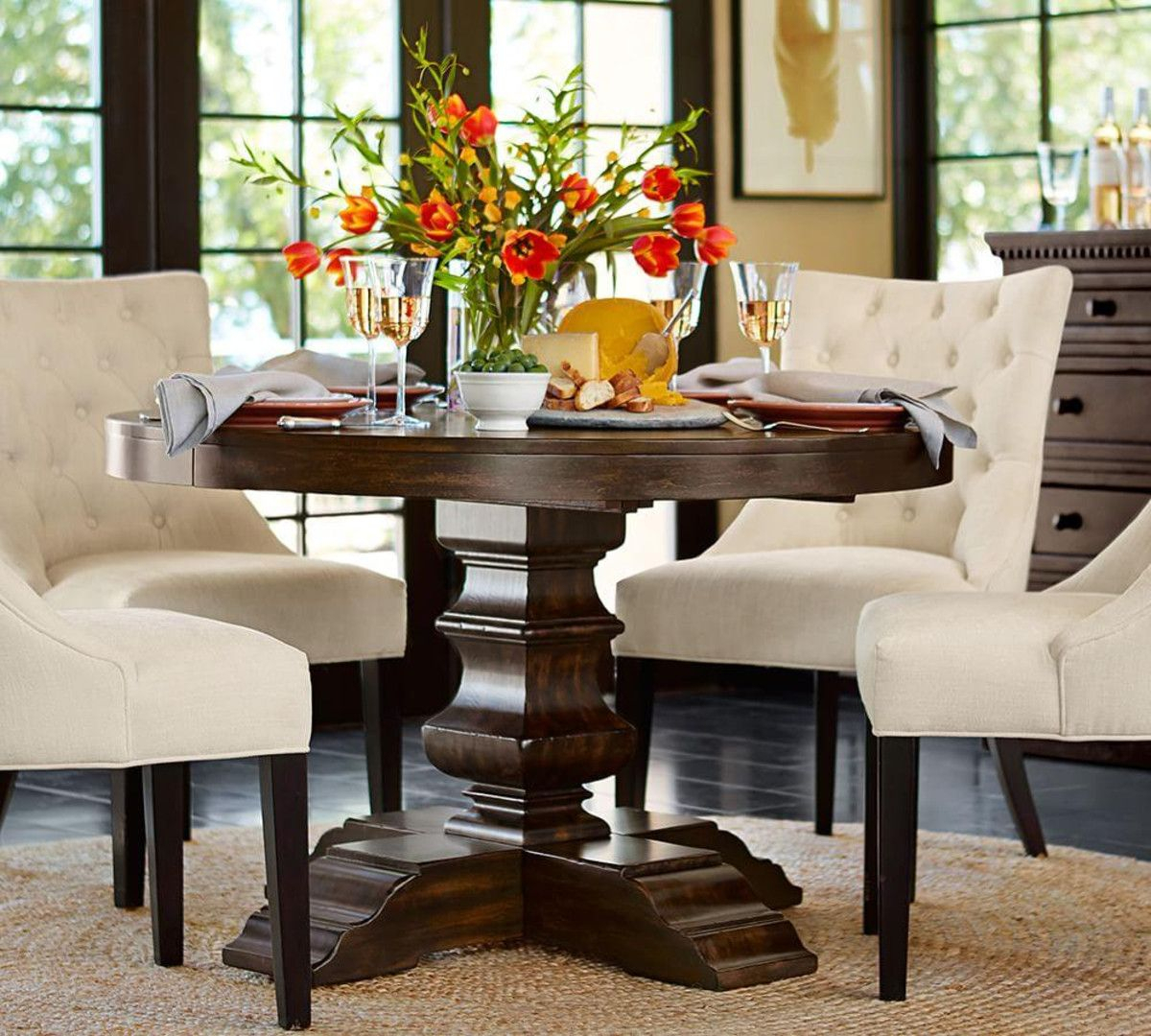 Banks Extending Round Dining Table – Alfresco Brown (122 Inside Most Current Alfresco Brown Banks Pedestal Extending Dining Tables (View 3 of 25)