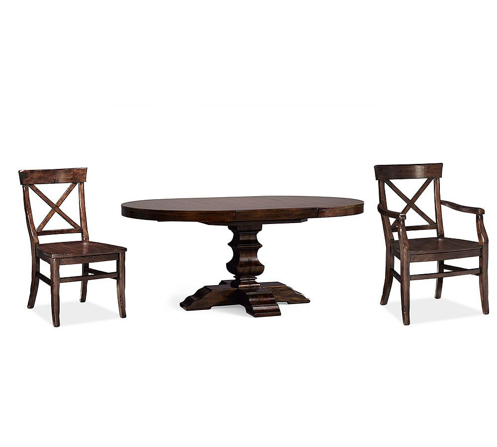 Banks Pedestal Table & 4 Aaron Chairs, Alfresco Brown Inside 2017 Alfresco Brown Banks Pedestal Extending Dining Tables (View 8 of 25)