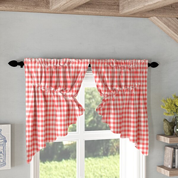Barn Red Kitchen Curtains | Wayfair Inside Classic Navy Cotton Blend Buffalo Check Kitchen Curtain Sets (View 23 of 25)