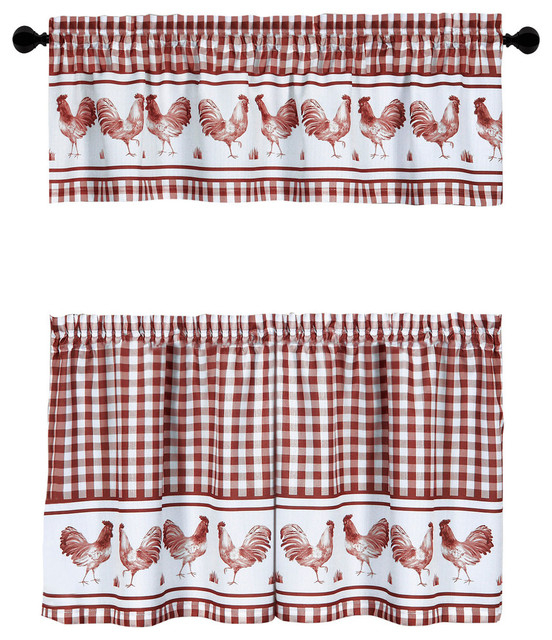 Barnyard Window Curtain Tier Pair And Valance Set Throughout Barnyard Buffalo Check Rooster Window Valances (View 13 of 26)