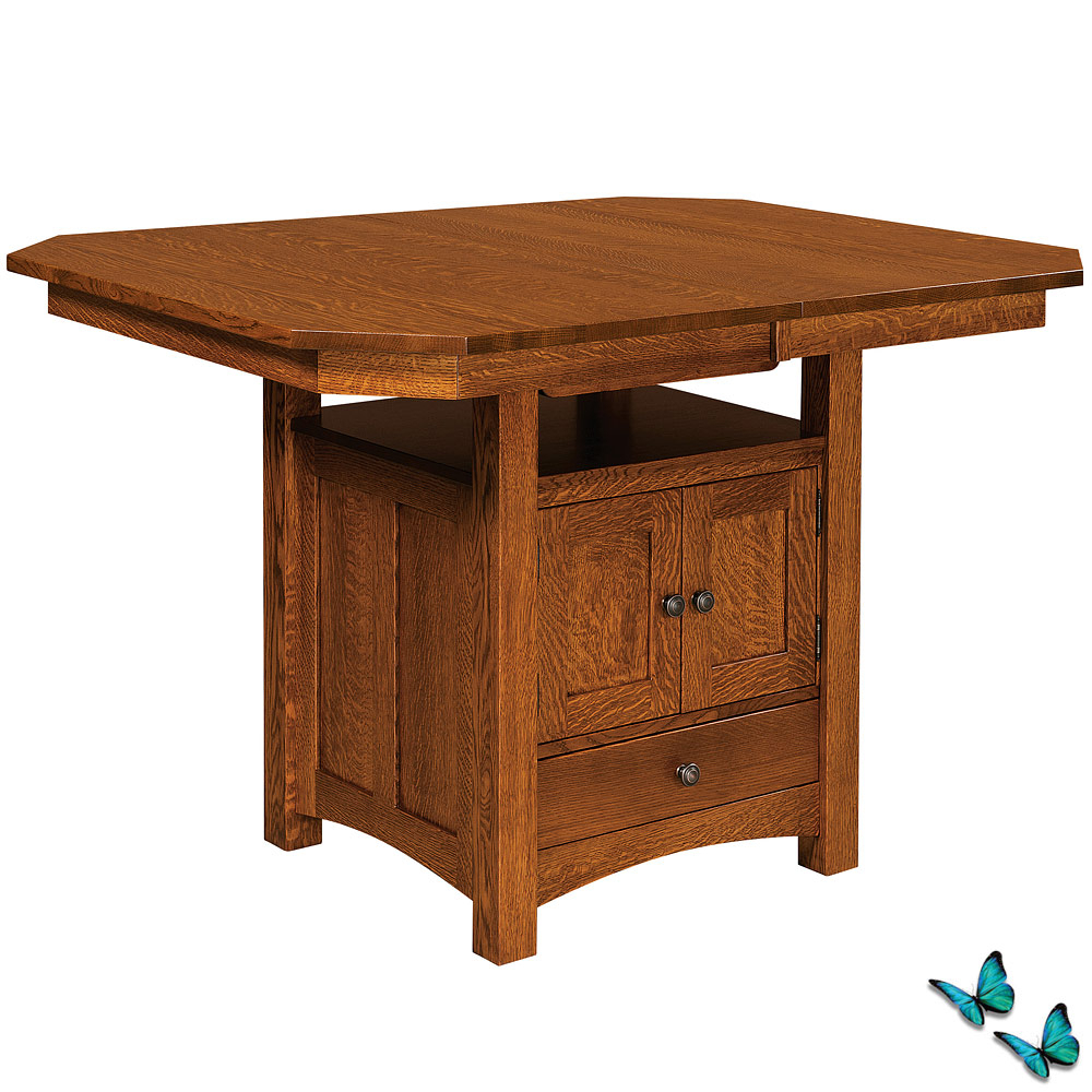Bassett Counter Height Cabinet Amish Dining Table Within Best And Newest Hart Reclaimed Wood Extending Dining Tables (Image 1 of 25)