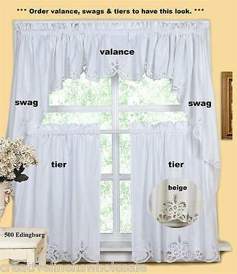 Batteburg Kitchen Curtain Valance Tier Swag Beige White | Ebay Throughout Cotton Lace 5 Piece Window Tier And Swag Sets (View 4 of 25)