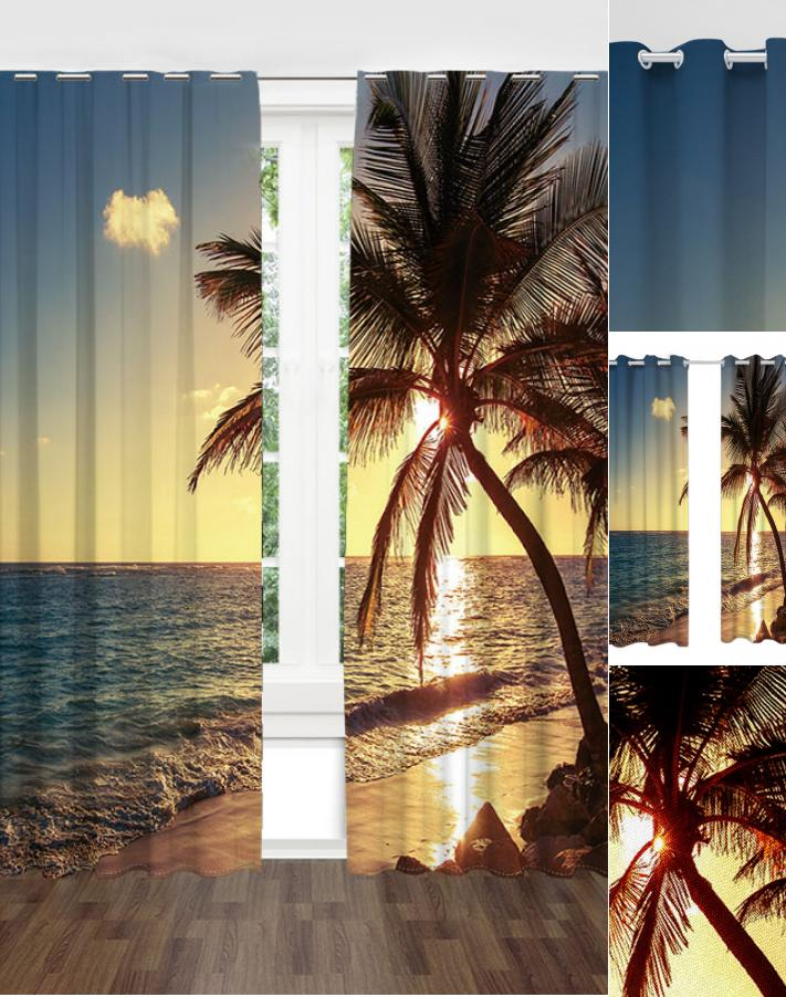 Beach Palm Tree Tropical Sunset Landscape Window Curtains Sunrise For Vintage Sea Shore All Over Printed Window Curtains (Image 4 of 25)