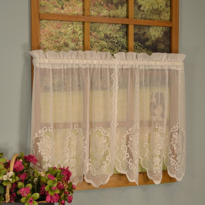 Becca 2 Piece Floral Lace Tier Set In Cotton Lace 5 Piece Window Tier And Swag Sets (View 12 of 25)