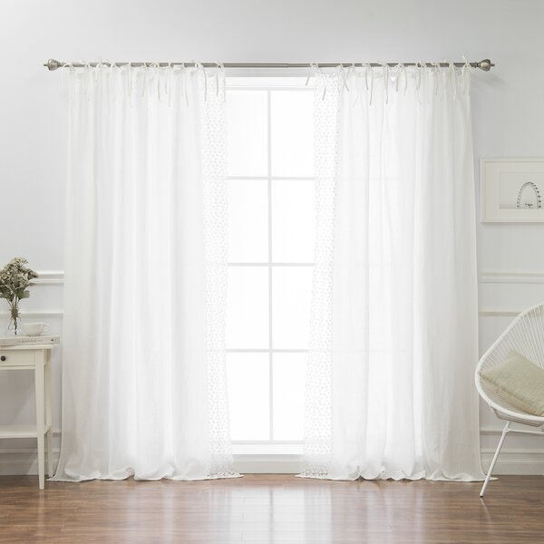 Belgian Flax Linen Curtain | Wayfair In Country Style Curtain Parts With White Daisy Lace Accent (View 8 of 25)