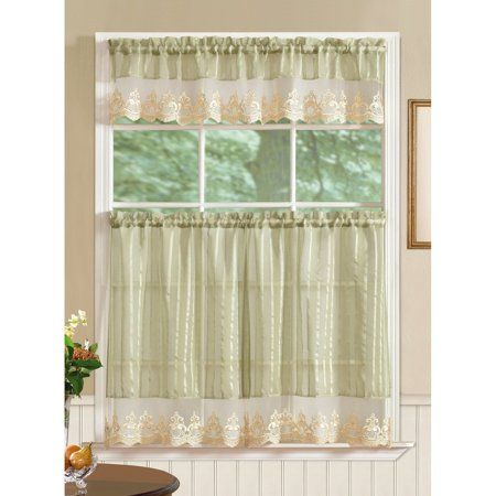 Bella Tier And Valance Kitchen Curtain Set, Sage, Size: 60 X Inside Semi Sheer Rod Pocket Kitchen Curtain Valance And Tiers Sets (Image 4 of 25)