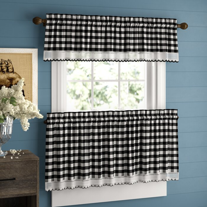 Bellair Country Plaid Complete 3 Piece Tier & Valance Kitchen Curtain Inside Kitchen Curtain Tiers (View 15 of 25)