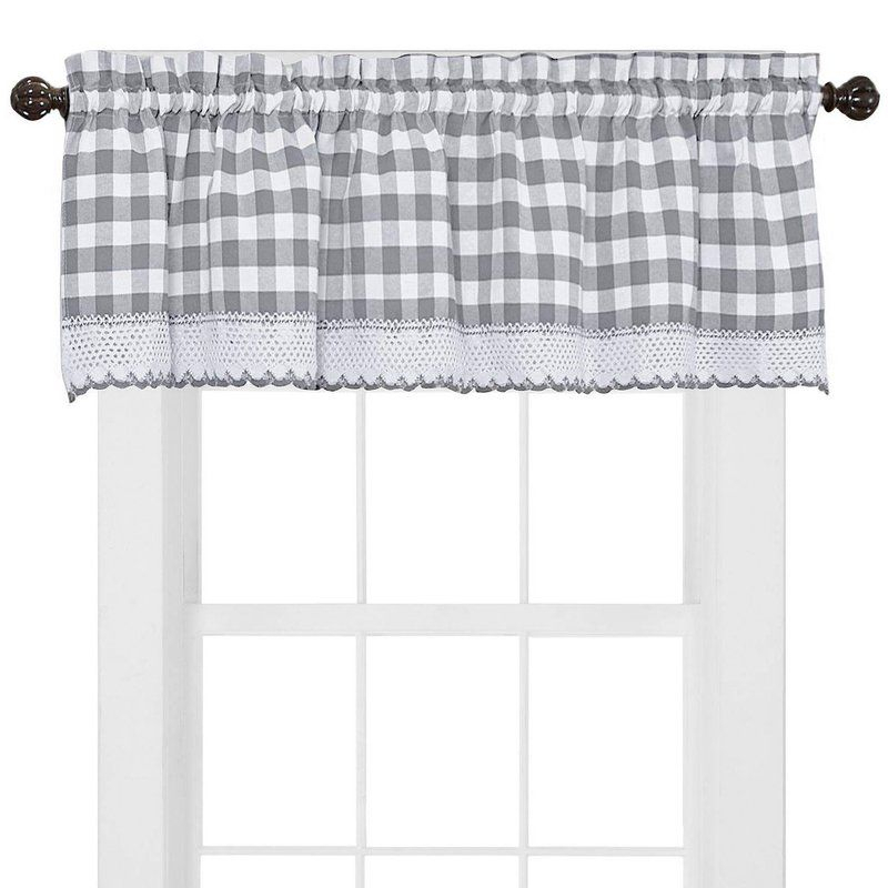 Bellavia Country Plaid With Macrame Border 58'' Window Within Cumberland Tier Pair Rod Pocket Cotton Buffalo Check Kitchen Curtains (View 15 of 25)