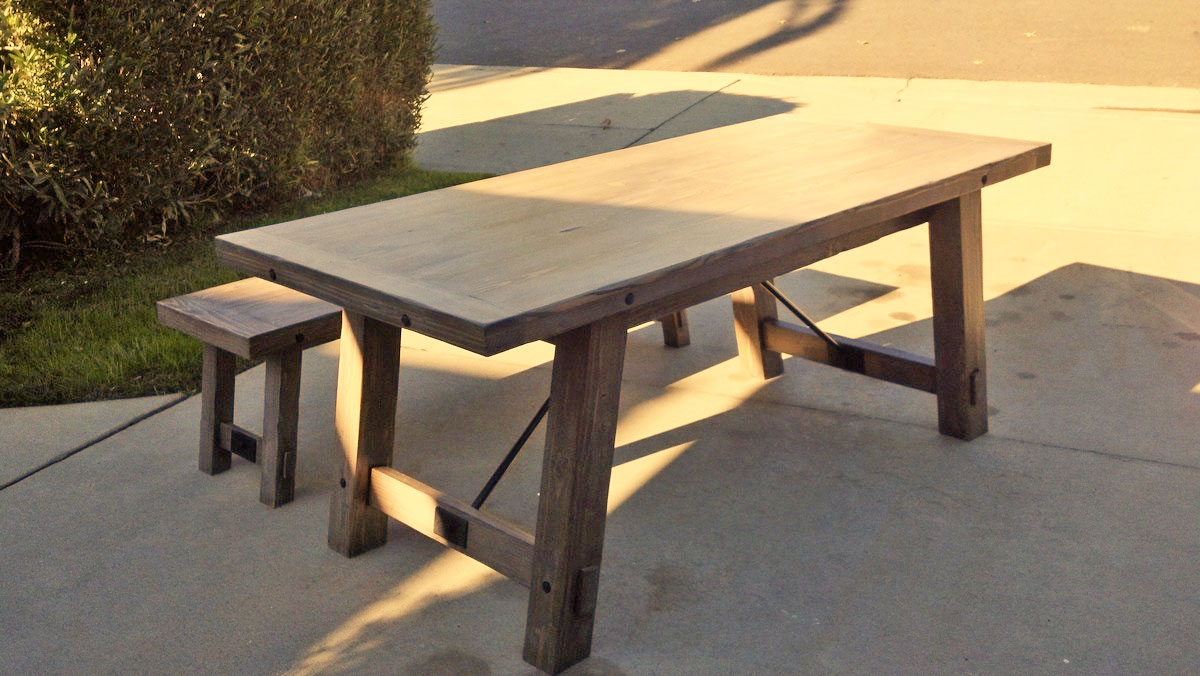 Benchright Industrial Farmhouse Table | Ana White Throughout 2018 Seadrift Benchwright Extending Dining Tables (View 12 of 25)