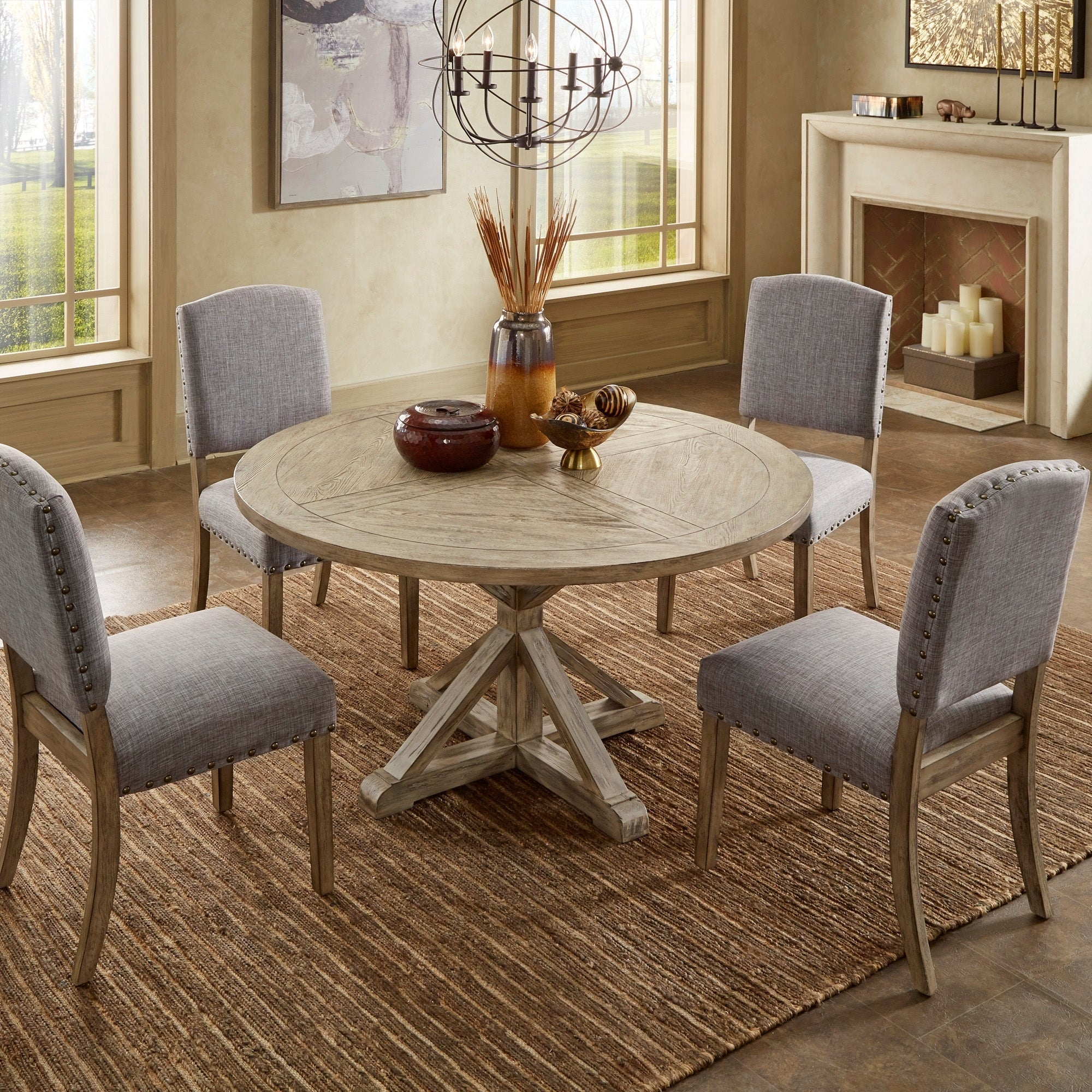 Benchwright Antique Grey Oak Round Dining Setinspire Q Artisan Pertaining To 2018 Blackened Oak Benchwright Dining Tables (Image 3 of 25)
