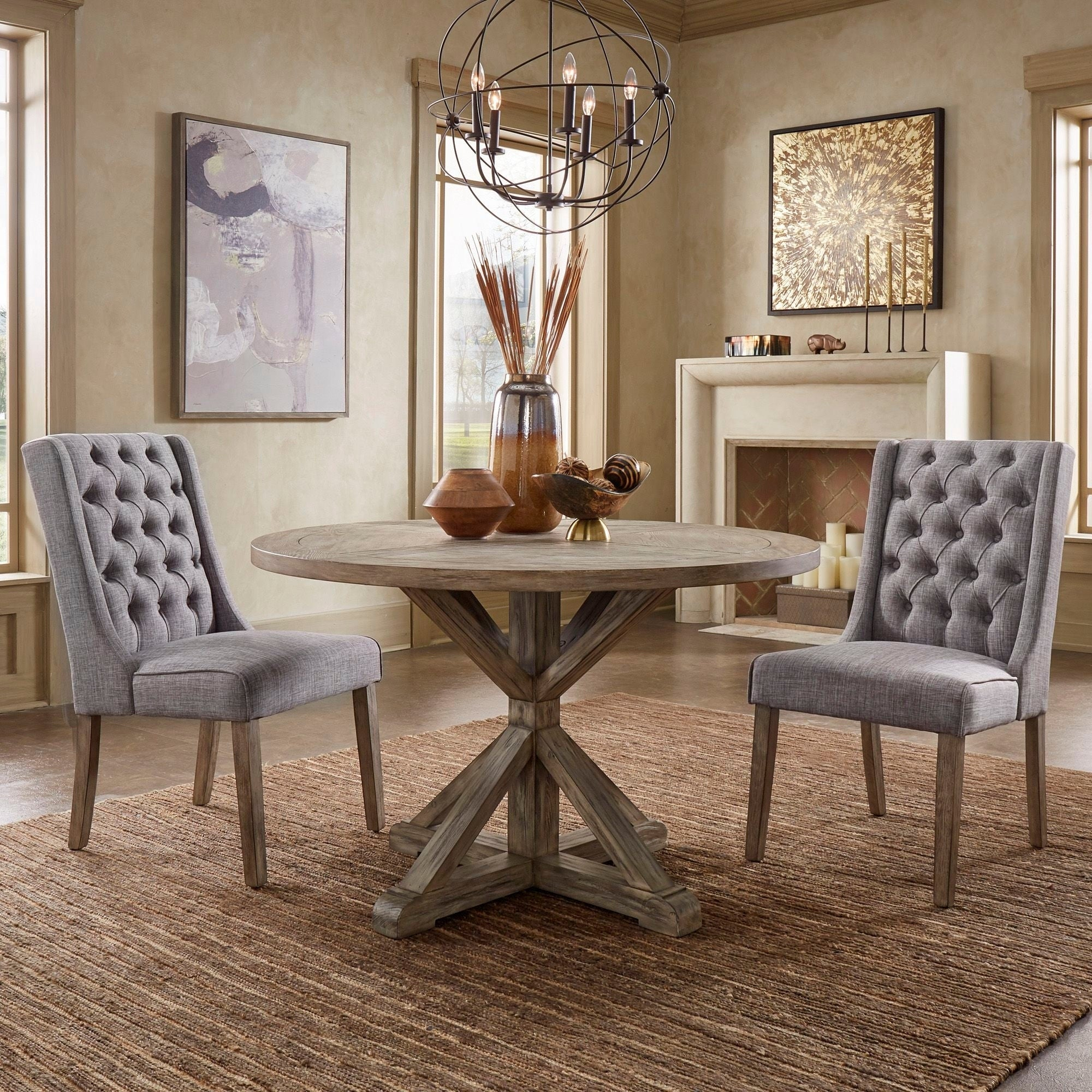 Benchwright Antique Grey Oak Round Dining Tableinspire Q Artisan Pertaining To Most Popular Blackened Oak Benchwright Dining Tables (Image 5 of 25)