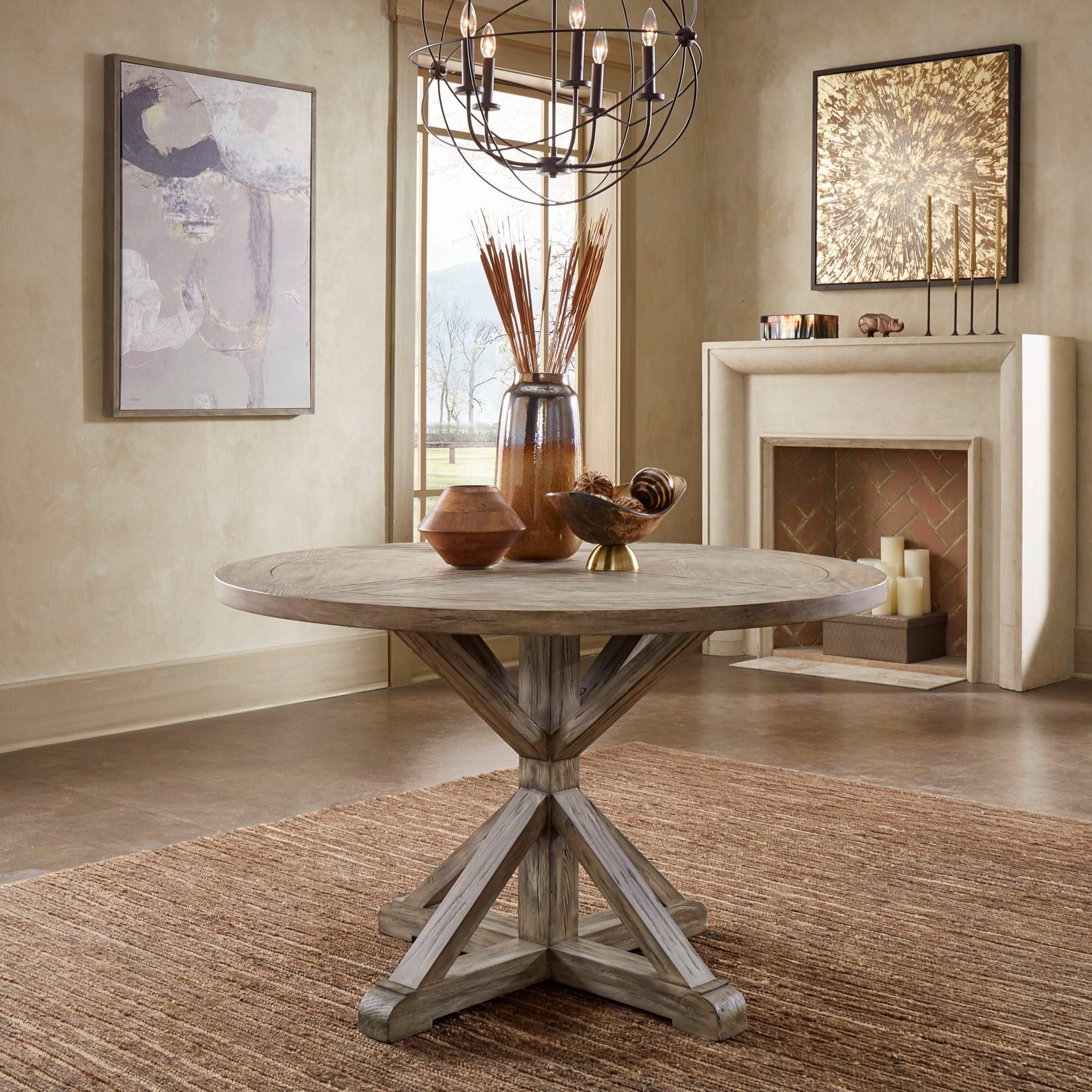 Benchwright Antique Grey Oak Round Dining Tableinspire Q Artisan With Regard To Most Popular Blackened Oak Benchwright Dining Tables (Image 6 of 25)