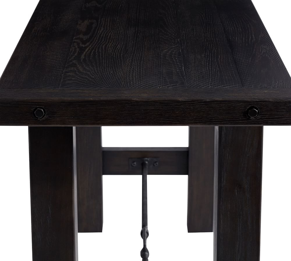 Benchwright Bar Height Dining Table Within Most Recently Released Blackened Oak Benchwright Pedestal Extending Dining Tables (View 25 of 25)