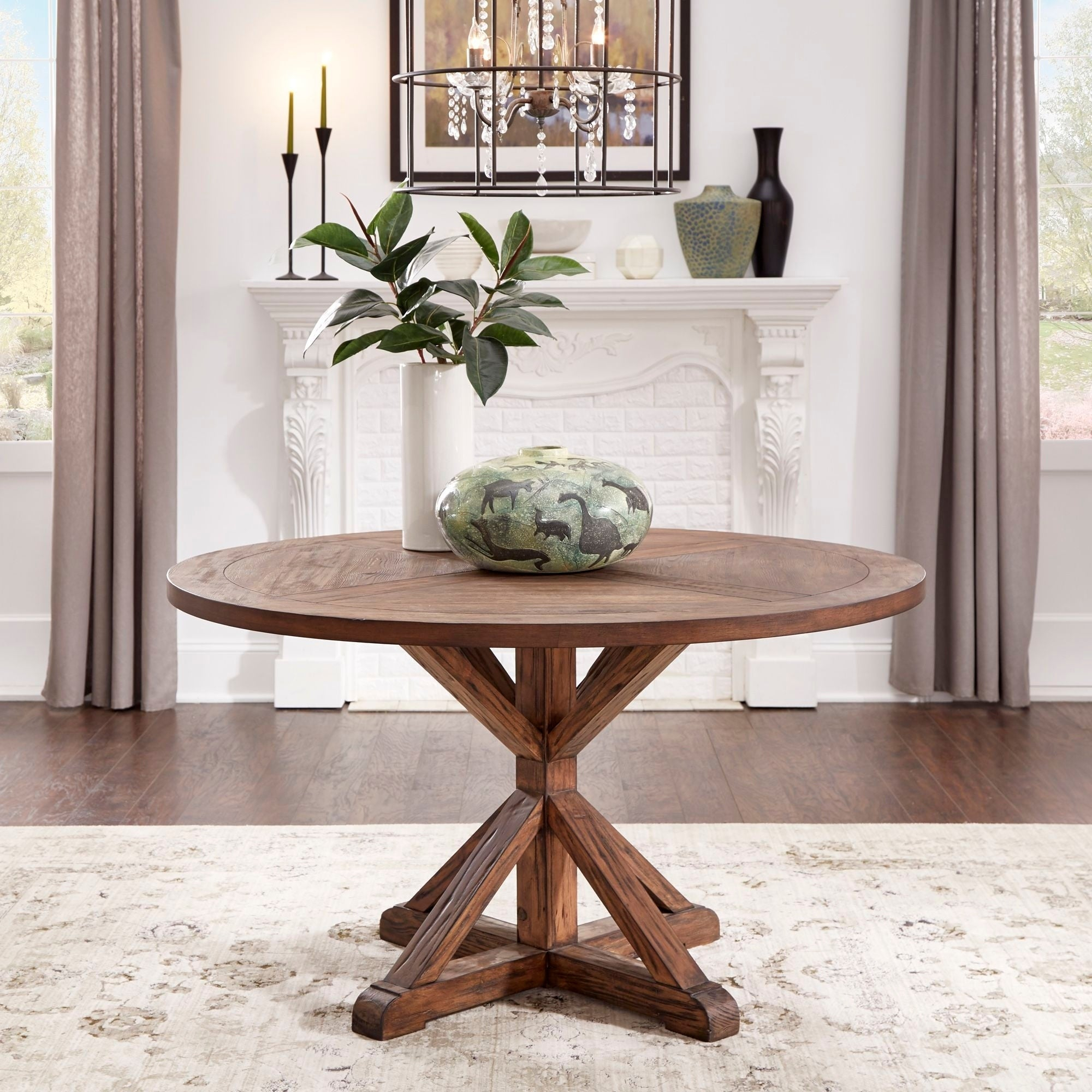 Benchwright Brown Finish Round Dining Tableinspire Q Artisan Within Newest Benchwright Round Pedestal Dining Tables (View 8 of 25)