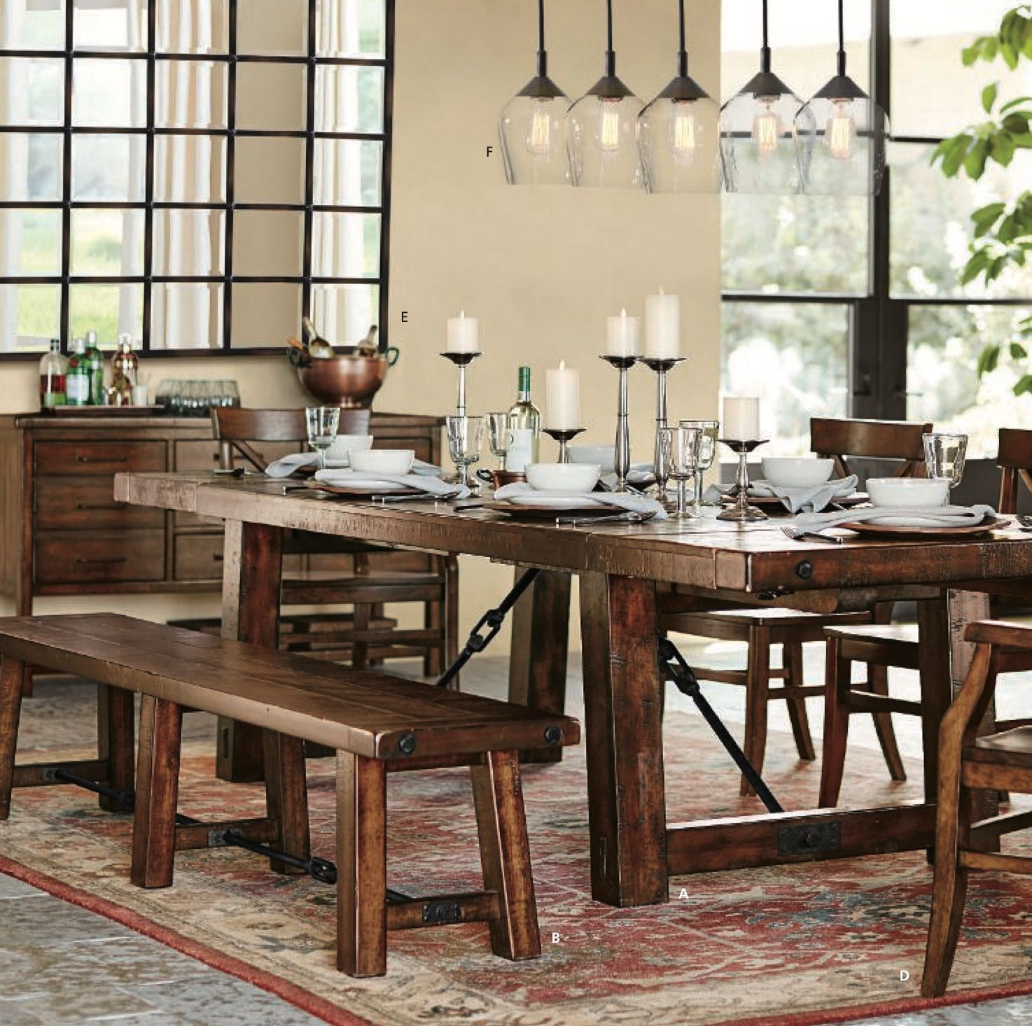 Benchwright Dining Table And Bench Shown In Rustic Mahogany Throughout Most Current Rustic Mahogany Benchwright Dining Tables (View 1 of 25)