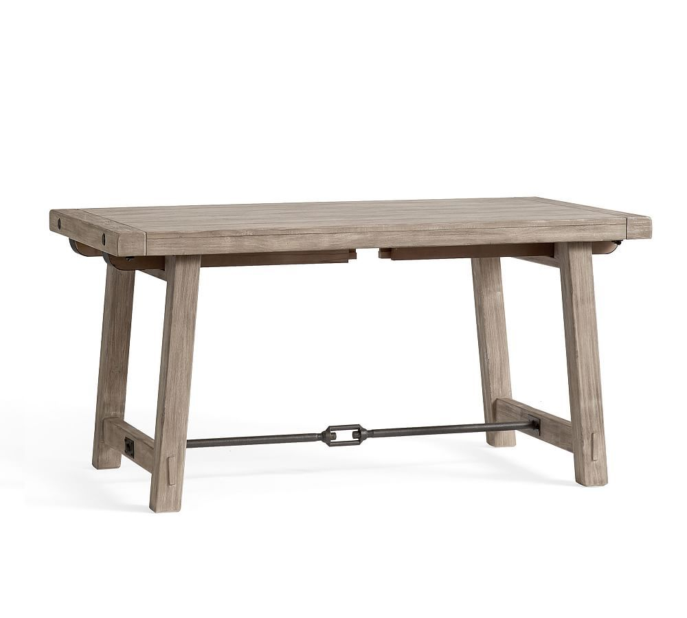 "Benchwright Extending Dining Table, Gray Wash, 74""l X 40""w For Most Up To Date Blackened Oak Benchwright Dining Tables (Photo 17 of 25)"