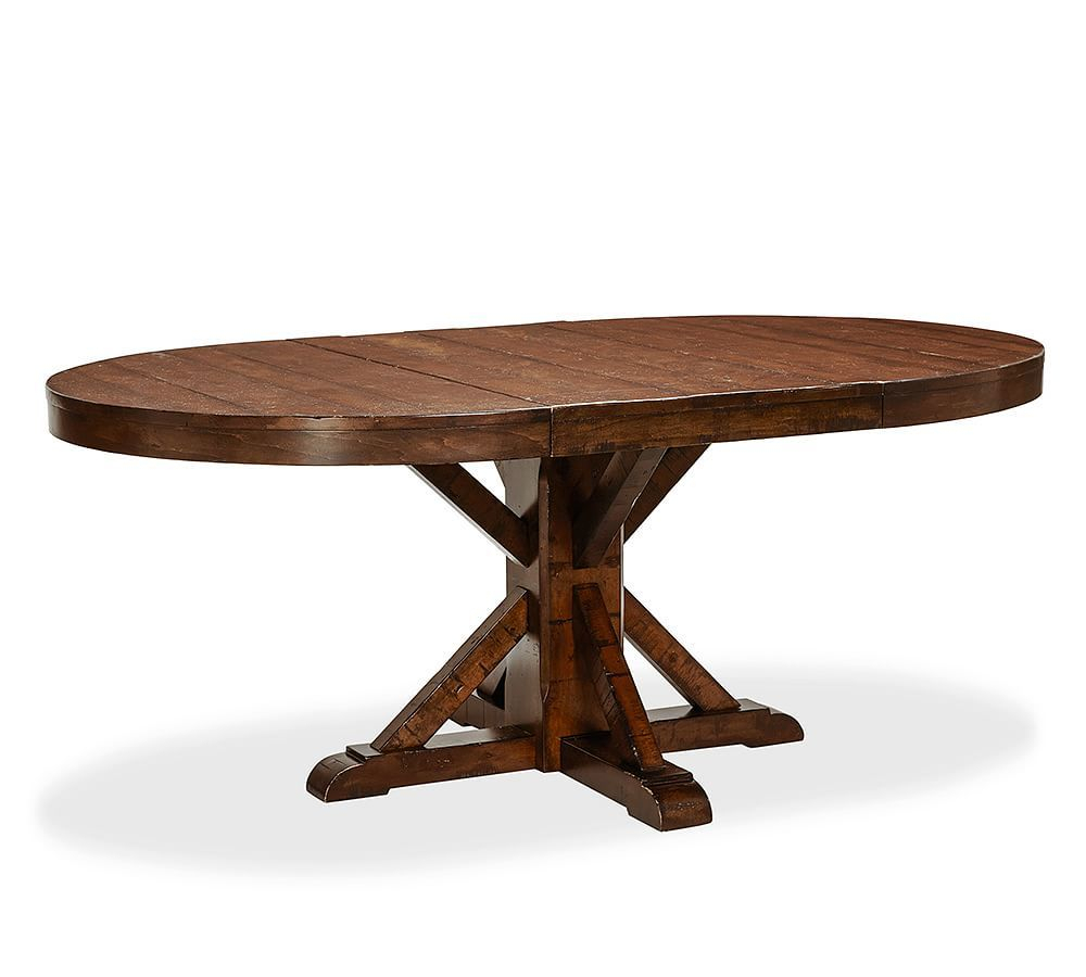 Featured Image of Rustic Mahogany Benchwright Pedestal Extending Dining Tables
