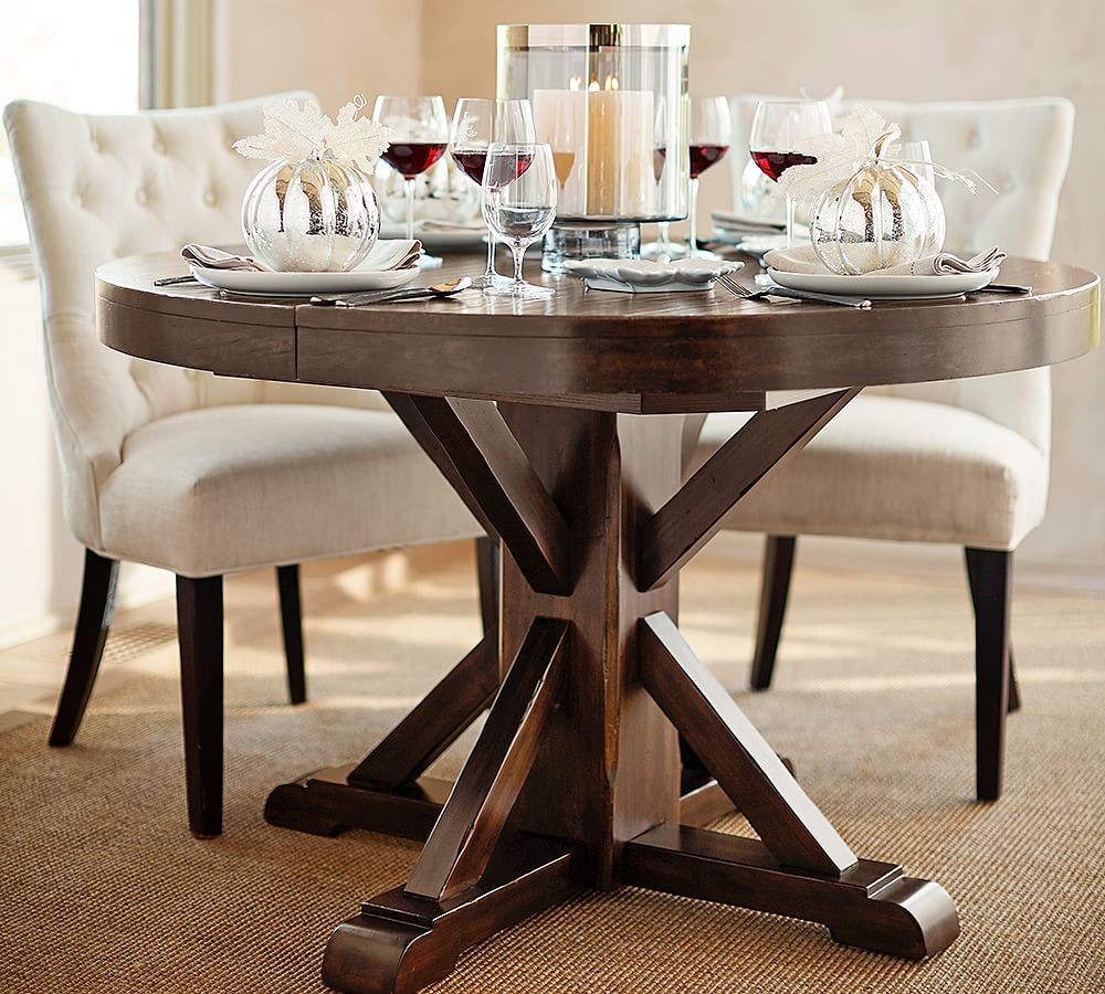 Benchwright Extending Pedestal Dining Table Alfresco Brown With Regard To 2017 Rustic Mahogany Benchwright Pedestal Extending Dining Tables (View 5 of 25)