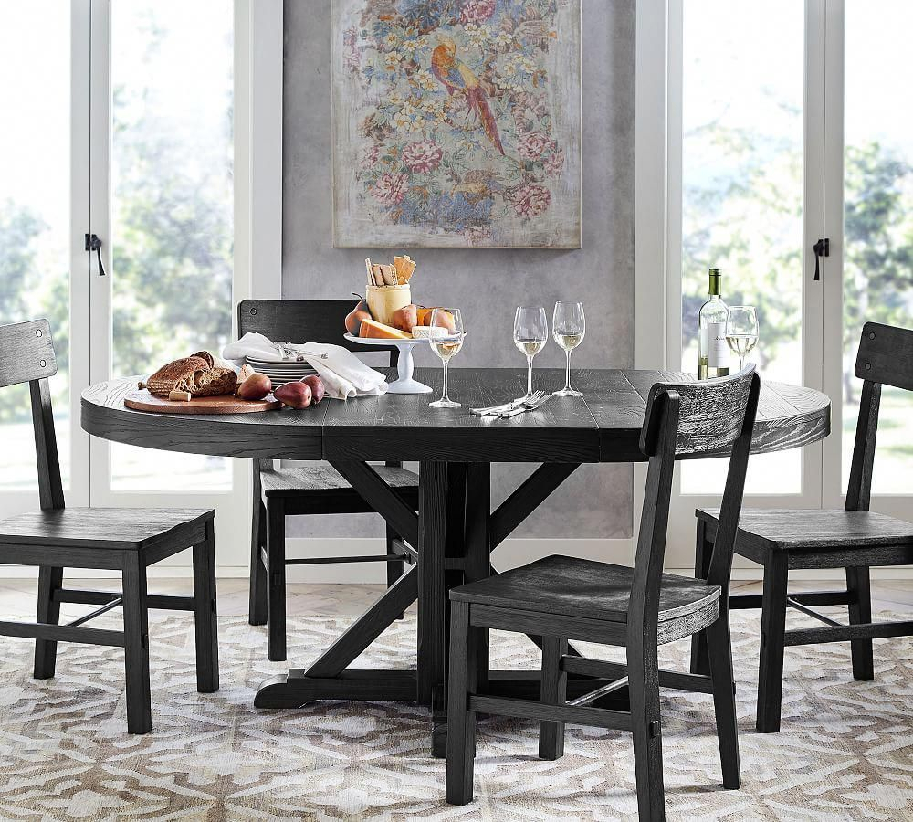 Benchwright Extending Pedestal Dining Table, Blackened Oak Regarding Latest Driftwood White Hart Reclaimed Pedestal Extending Dining Tables (Image 1 of 25)