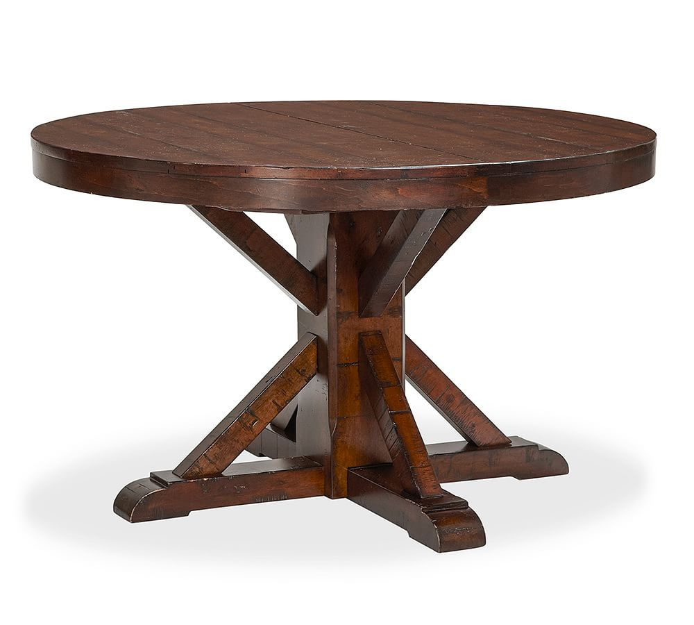 Benchwright Fixed Round Pedestal, Rustic Mahogany Stain Pertaining To Newest Benchwright Round Pedestal Dining Tables (View 6 of 25)