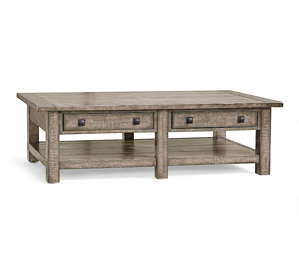 Benchwright Grand Rectangular Coffee Table, Gray Wash In With Regard To 2017 Gray Wash Benchwright Dining Tables (View 3 of 25)