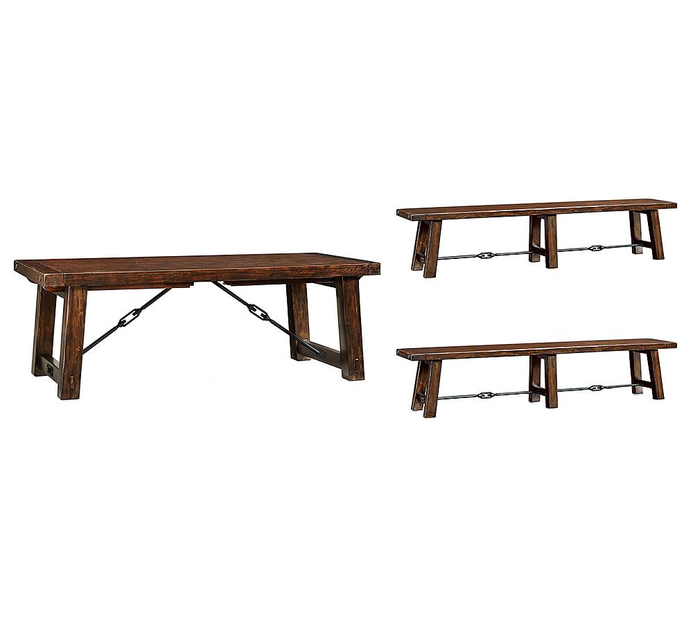 Benchwright Large Extending Dining Table & 2 Large Benches Throughout Current Rustic Mahogany Extending Dining Tables (View 4 of 25)
